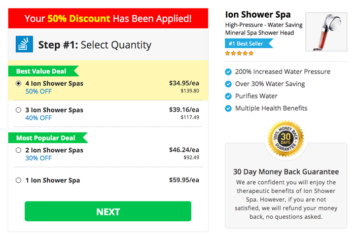 ion shower spa price