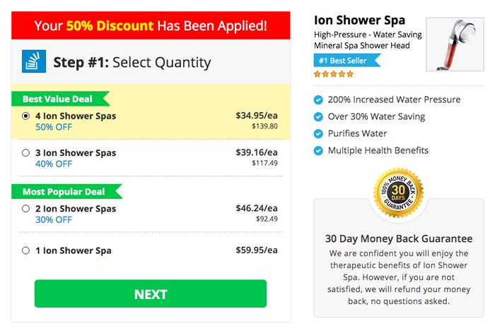 ion shower spa price